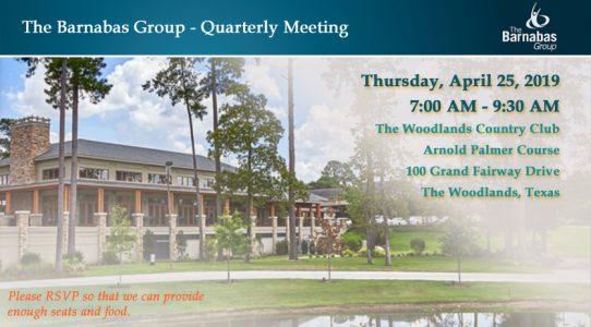 Quarterly Meeting The Woodlands – April 2Q 2019