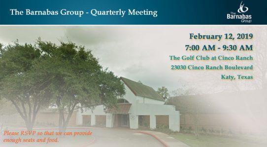Quarterly Meeting West Houston/Katy – February 1Q 2019