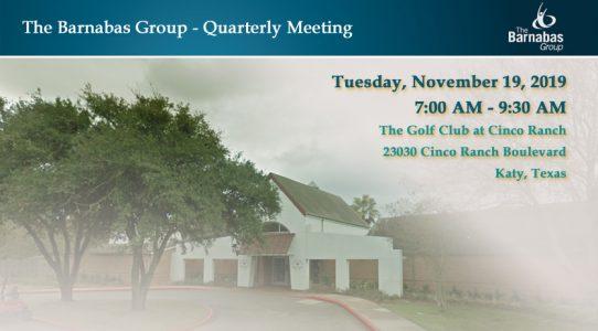 Quarterly Meeting West Houston/Katy – November 4Q 2019