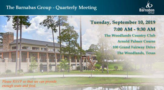 Quarterly Meeting The Woodlands – September 3Q 2019