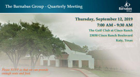 Quarterly Meeting West Houston/Katy – September 3Q 2019